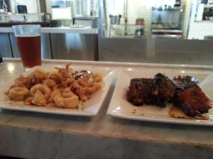 Fried calamari and ribs at Flying Fish, Myrtle Beach, SC