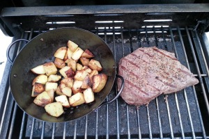 Camp steak and potatoes