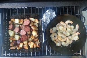 Sausage and potatoes, with some gulf shrimp
