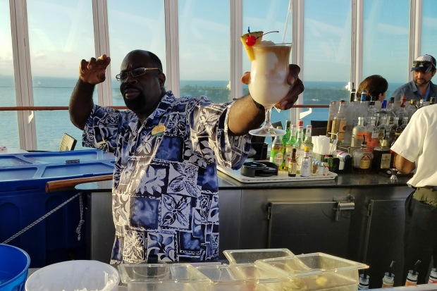 Dr. G serving up 'mashed potatoes and gravy' (pina colada)