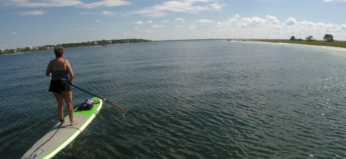 Paddleboarding in the lagoon.
