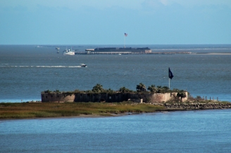 Charleston Harbor and Ft Sumter in background