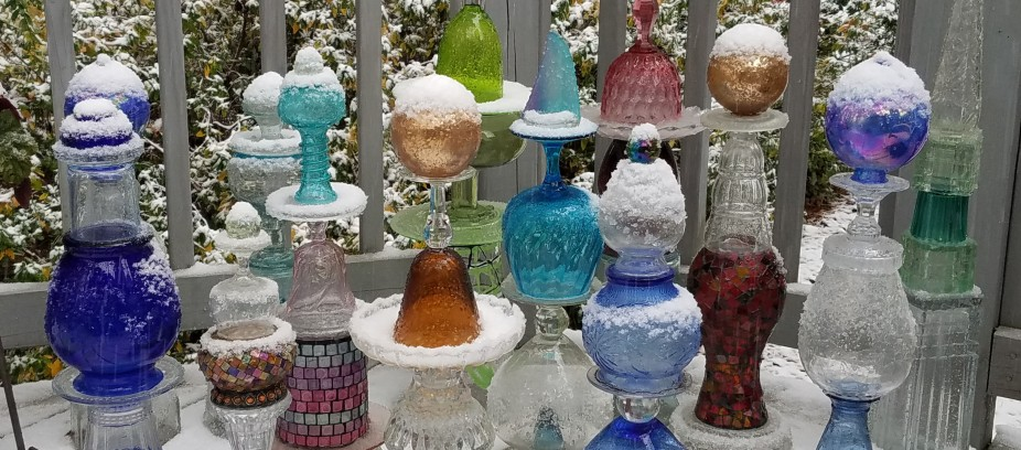 Glass totems in snow