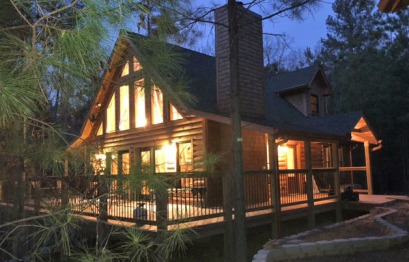 Cabin at night